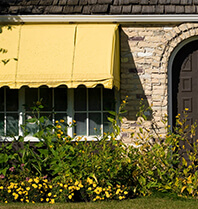 small yellow awning
