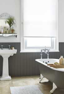 white roller blind in a bathroom