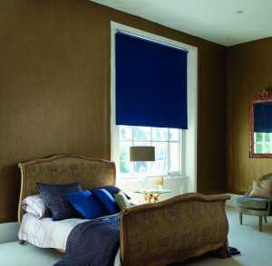 blue roller blinds in gold bedroom