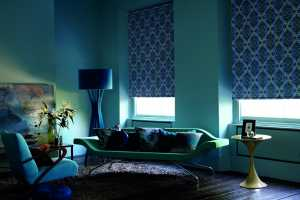 purple roller blinds in a dark living room