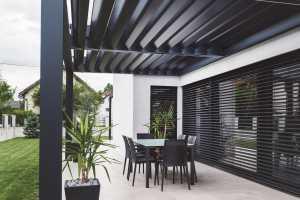 modern black patio sun breaker louvre array
