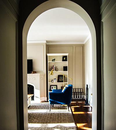 Deep blue armchair in living room