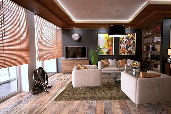 Modern wooden blinds in living room