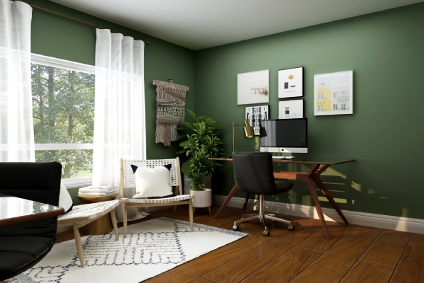 Chairs and desk set up in home office